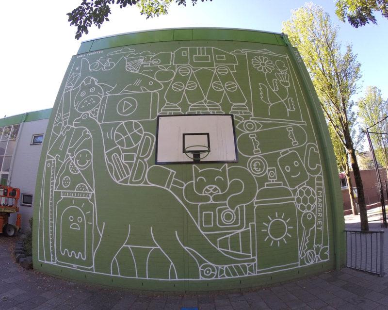 Muurschildering basisschool De Margriet